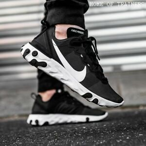 b5f7641f56c Nike React Element 55 Black White Girls Women s Trainers All Sizes ...