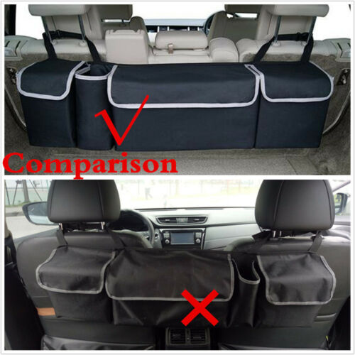 Black Car Trunk Backseat Stowing Bag High Capacity Pocket For Outdoor Camping