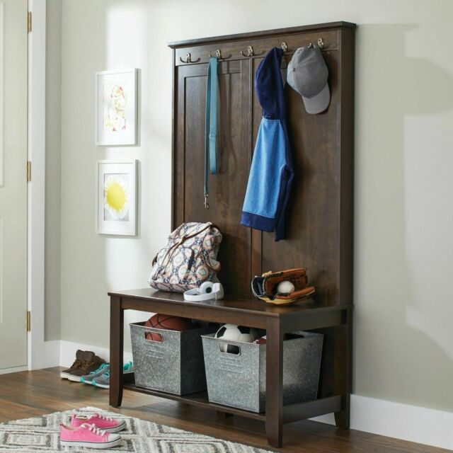 Wondrous Hall Bench Seat Entryway Coat Tree Rack Hat Wood Stand Hooks Entry Shoe Storage Machost Co Dining Chair Design Ideas Machostcouk