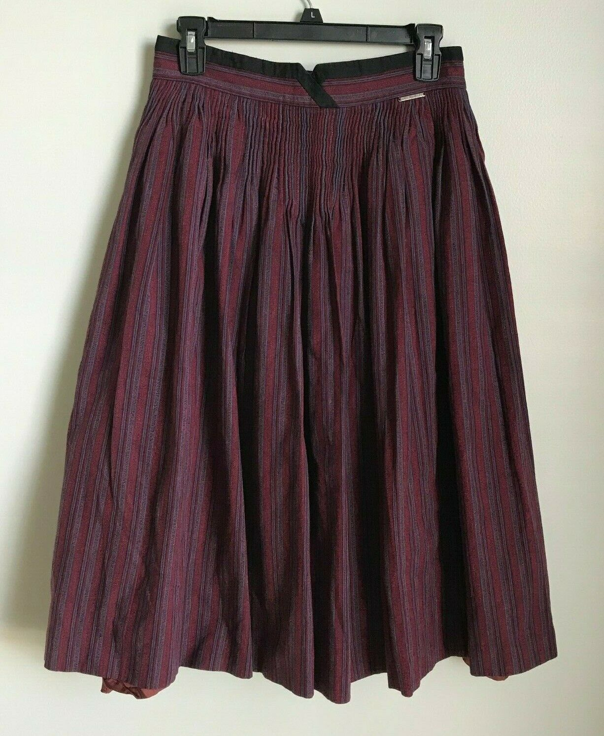Geiger Tyrol 42 Maroon Pleated Striped Skirt Made in Austria