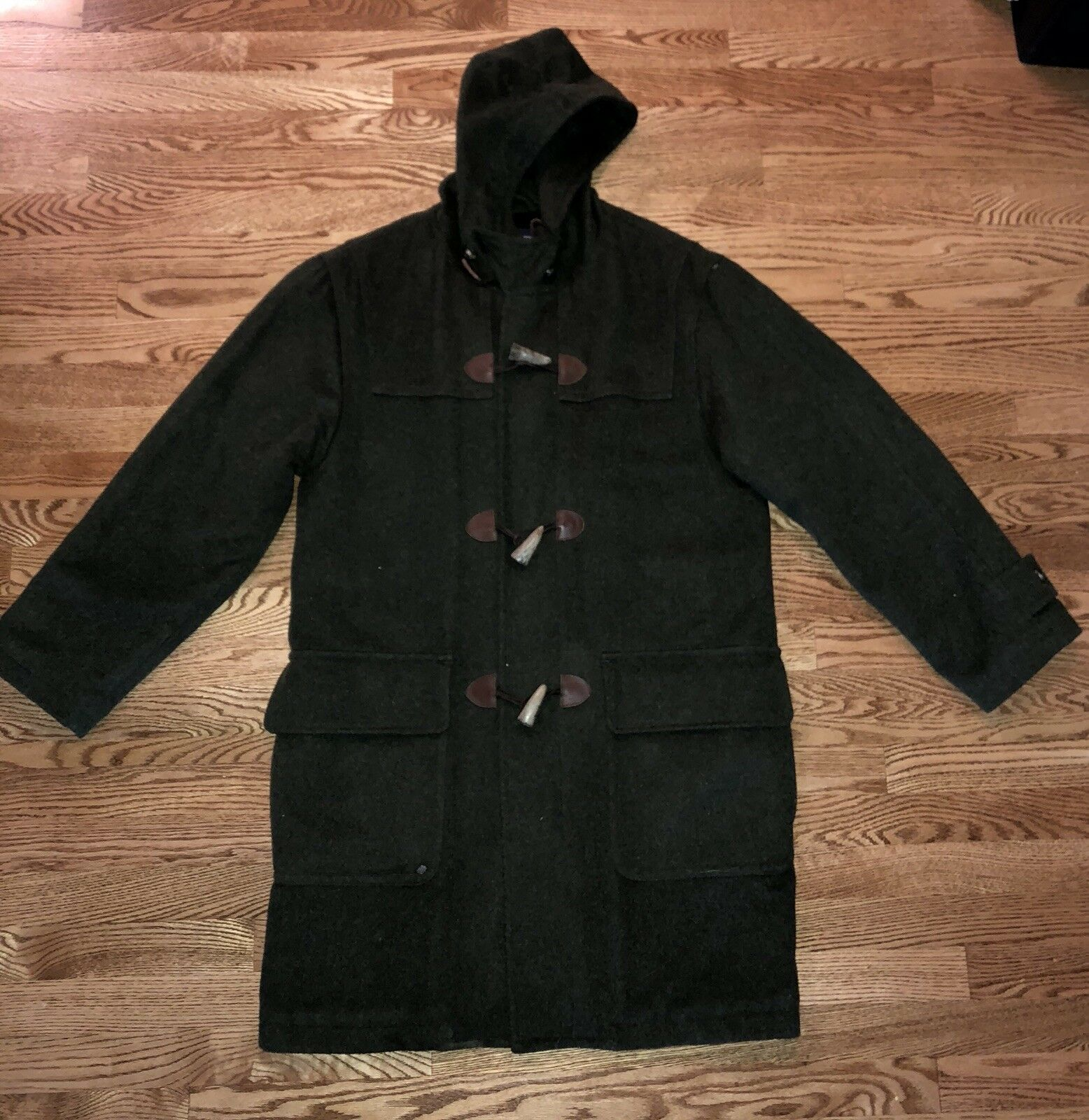 VTG LANDS END MENS ARMY GREEN WOOL DUFFLE COAT ZIP TOGGLE HOOD INSULATED LODEN
