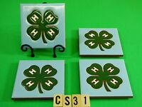 Ceramic Art Tile 4x4 4pcs Coaster Set W/stand 4 H Emblem Clover Gift Cs31