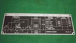 Dodge M37 M43 Ambulance Weight Dimension Data Plate Rare P7 Ebay