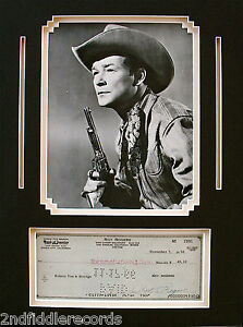 ROY ROGERS-Rare Autographed Check & Photo Display-Wester