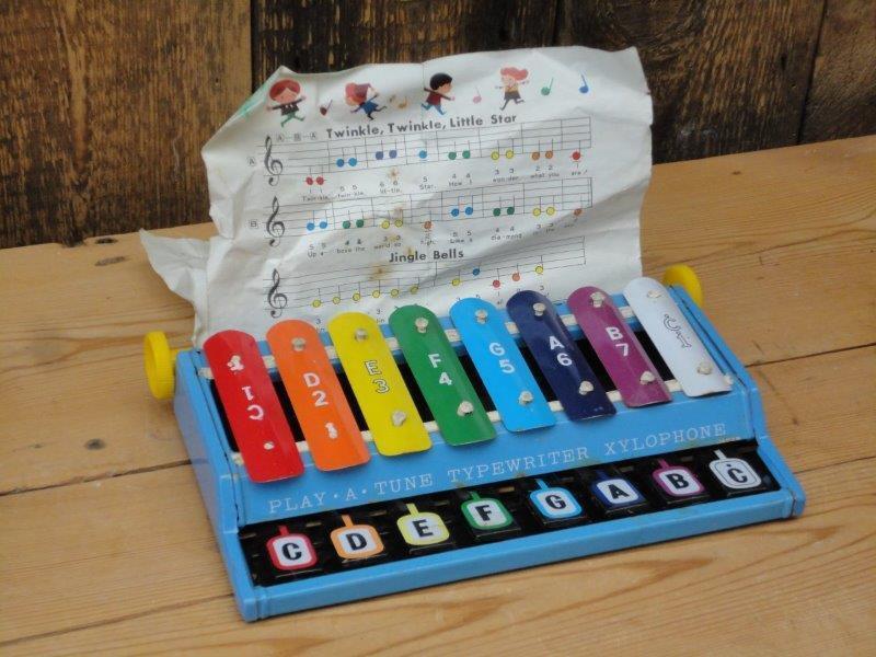 Vintage Cragstan Play A Tune Typewriter Xylophone Tin Toy Music Sheet Made Japan
