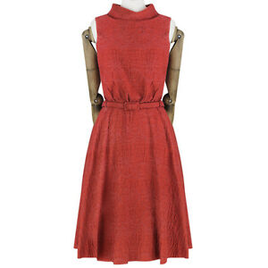 Erdem-Vermillion-Red-Cutout-Back-Belted-Waist-Jacquard-Dress-UK8-IT40