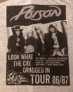 POISON-cd-lgo-Look-What-the-Cat-Dragged-In-TOUR-Official-GREY-SHIRT-XL-new