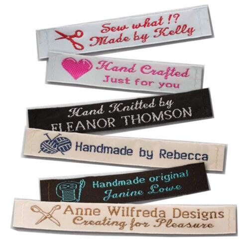 """25 Personalized 100/% Woven Sewing Labels 1//2/"""" Wide"""