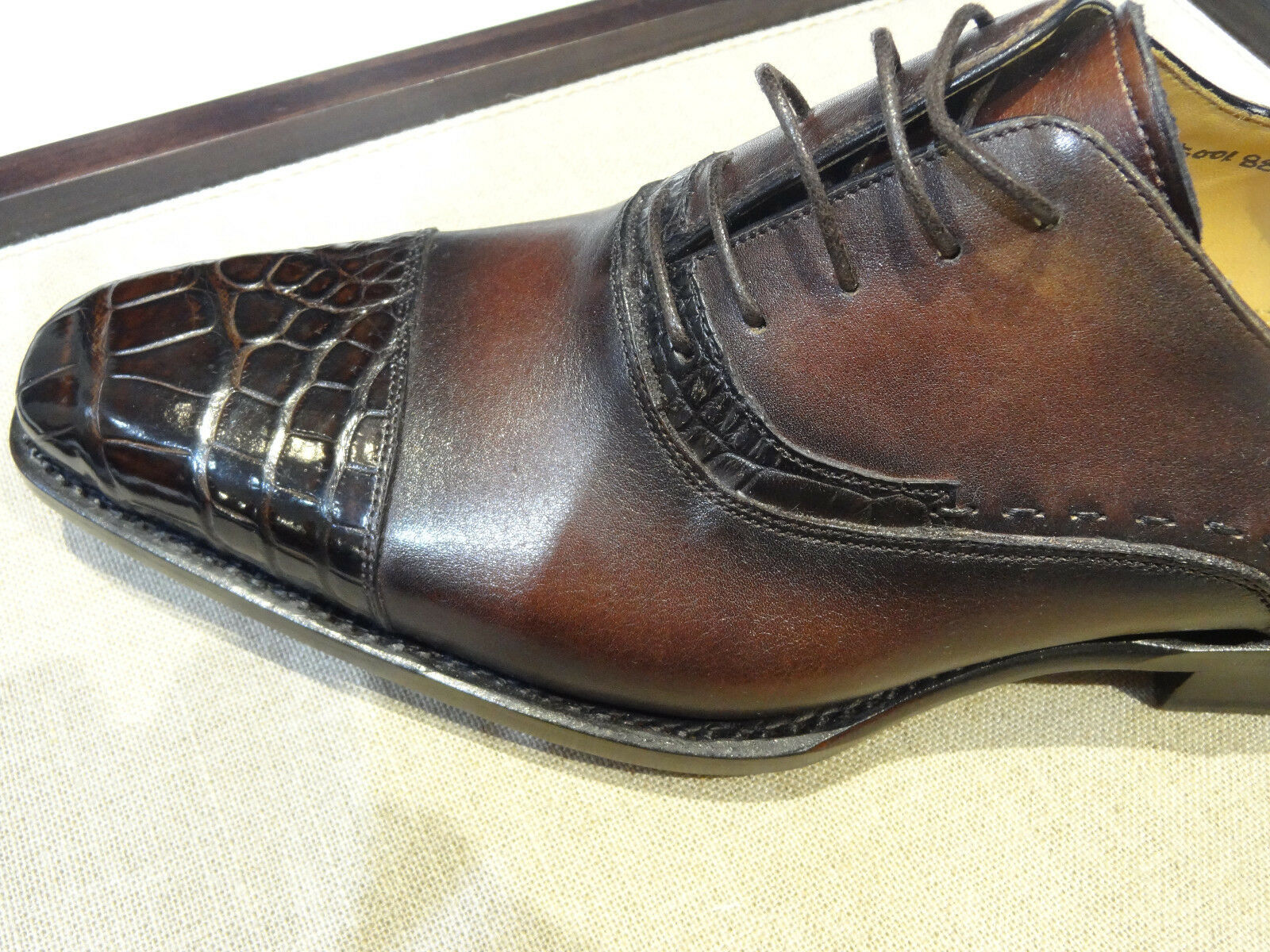 Ugo Vasare Italian Brown Burnished Patina Cap toe Leather Crocodile Oxford shoes