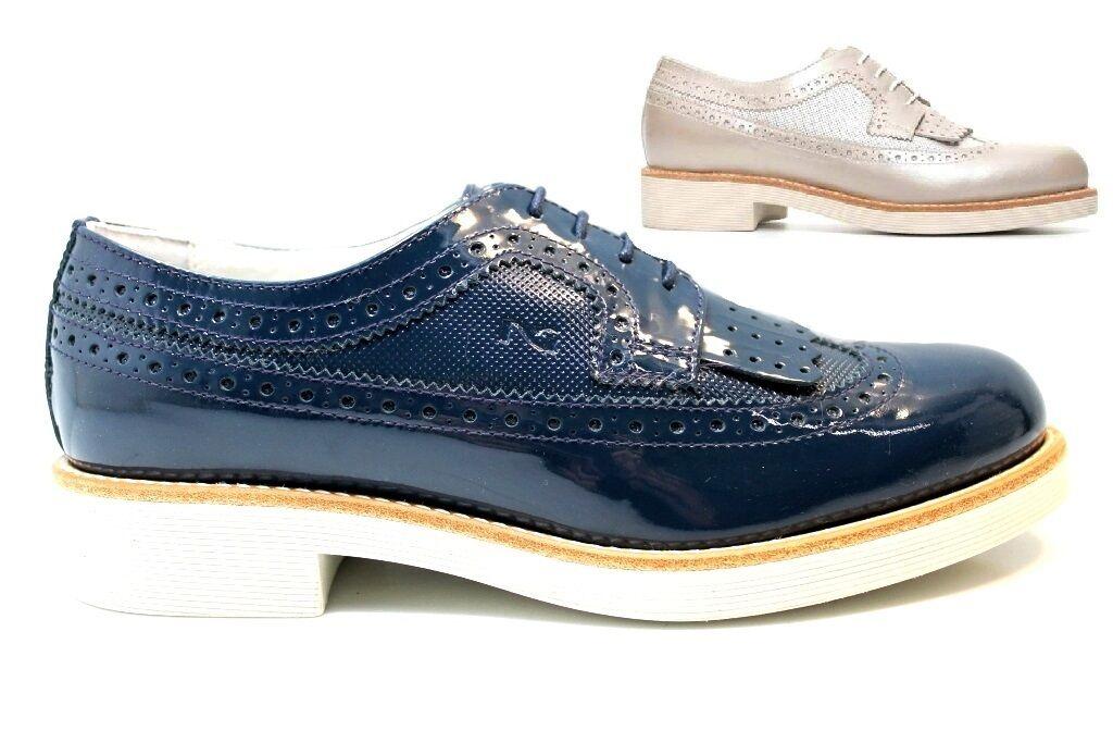 Nero Giardini P717072D Savana e Blu Stringate Schuhe Damenschuhe Stile Inglese