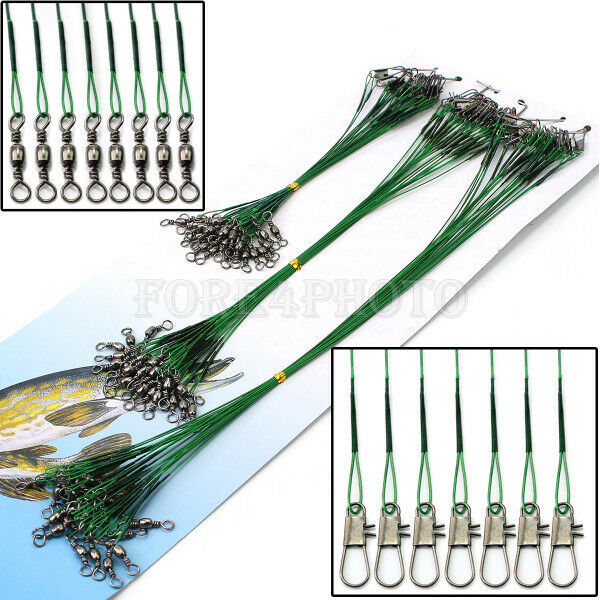 72x Fishing Trace Lures Leader Steel Wire Spinner Line 15cm 23cm 30cm Practical
