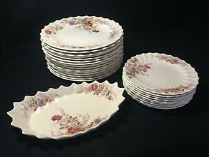 Vintage-SPODE-COPELAND-034-Fairy-Dell-034-Plates-Platter-Floral-Sprays-with-Swirl-Rim