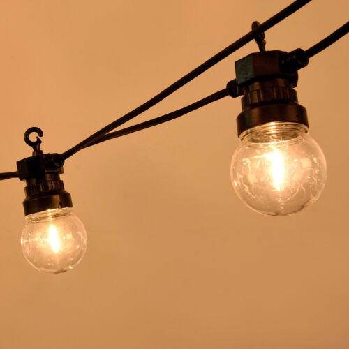 CATENA LUMINOSA A LED CATENARIA 20 LAMPADINE LUCE CALDA FILAMENTO 10 METRI IP44