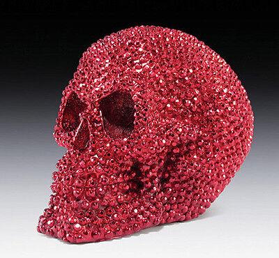 Red Bead Devil Skull Head Halloween Fright Horror Decoration Figurine Statue