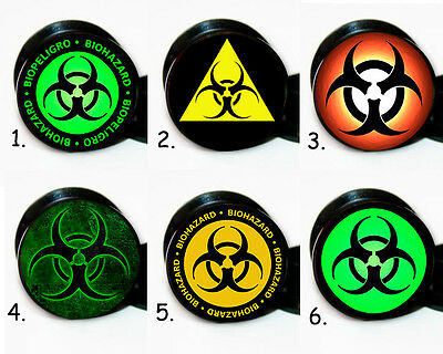 Select 1 pair Different Biohazard ear gauges tunnel screw back plugs