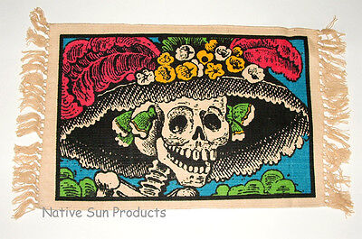 "Set of 6 Placemats DAY OF THE DEAD design 13x19"" Canvas New #150"