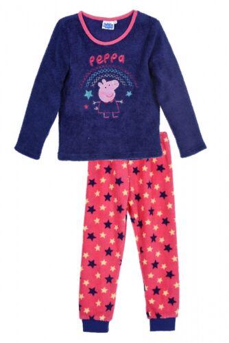 lila 2-teilig Peppa Wutz Kinder Kuscheliger Schlafanzug mit Stickerei