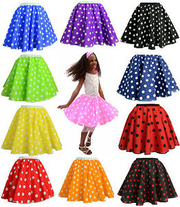 CHILDRENS-12-PINK-POLKA-DOT-ROCK-N-ROLL-50s-SKIRT-SCARF-FANCY-DRESS-COSTUME
