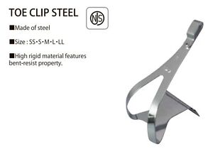 NEW-Pair-MKS-NJS-Steel-Toe-Clips-Chrome-w-hardware-tool-for-Road-Track-Tour-Fix