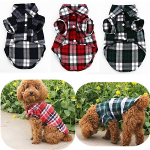 Small-Dog-Plaid-T-Shirt-Pet-Puppy-Flannel-Doggie-Jacket-Clothes-Blue-Green-Plaid