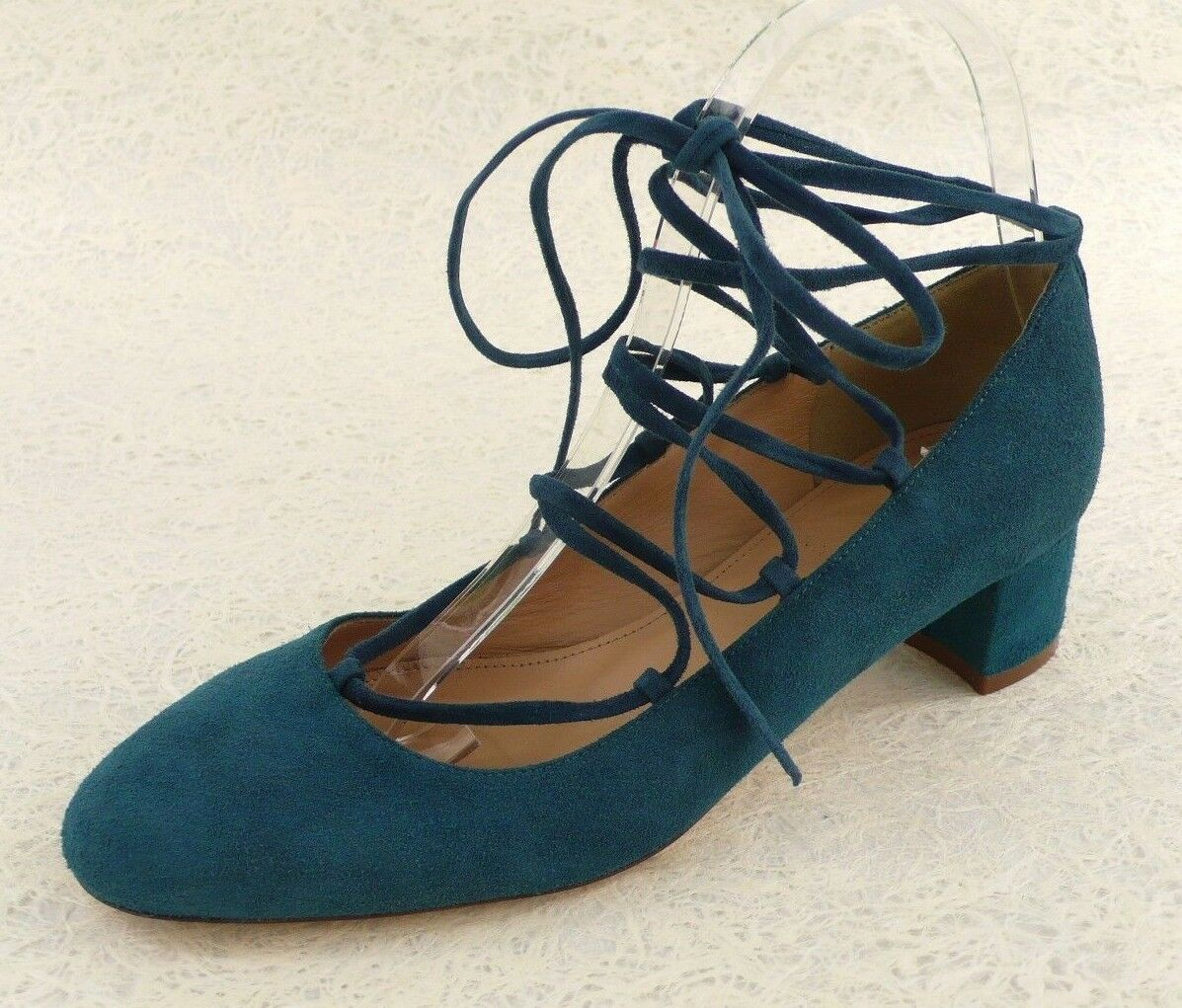 NEW J. CREW Retail  218 KID SUEDE LACE-UP LOW HEELS in TEAL Size 7 Made in ITALY