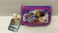 DISNEY MOANA PURPLE GIRL KID TRI FOLD ZIPPED WALLET COIN 100% LICENSED PRODUCT