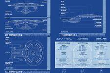 USS Enterprise Lineage Plans Poster Star Trek Multiple Sizes 11x17-24x36