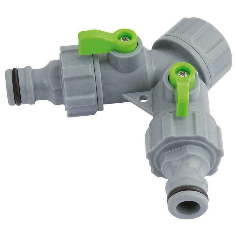 Draper 2-Way Top Connector, Robust Plastic, Use With Garden Hose/Sprinklers/Taps