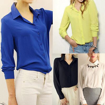 Fashion Womens Loose Long Sleeve Chiffon Casual Blouse Shirt Tops Blouse T-Shirt