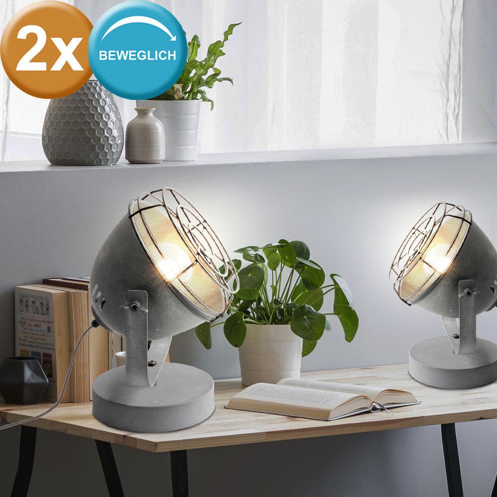 2er Set Tisch Leuchten grau Strahler rustikal Ess Zimmer Beleuchtung Beton Optik