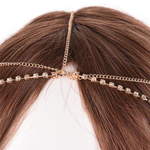 Metall Multilayer Boho Kopf Kette Stirnband Hochzeit Haarschmuck~DE WQ W  YT