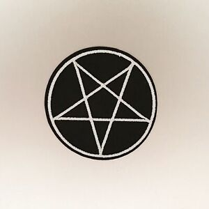 Pentagram-Patch-Iron-On-Badge-Embroidered-Motif-Goth-Punk-Emo-Star-Black