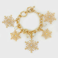 Gold Metal Winter Snow Flake Charm Crystal Pearl Accent Fashion Bracelet