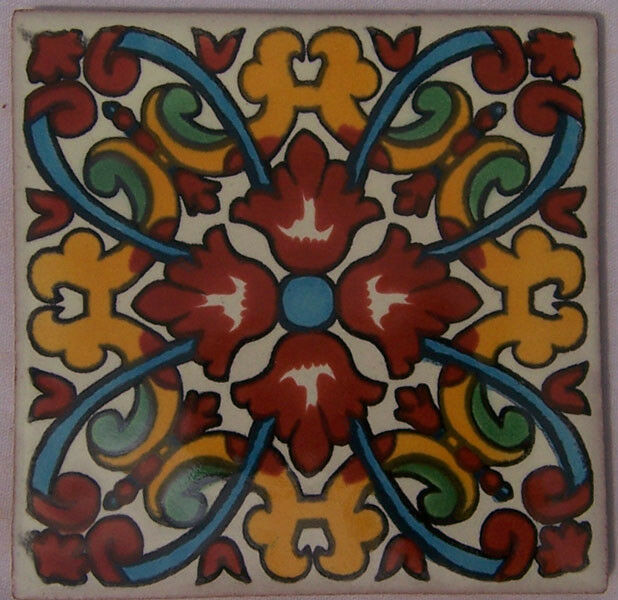 C207 - Mexican Handmade Talavera Clay Tile Folk Art 4x4