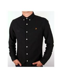 Farah Brewer Long Sleeve Shirt In Black Cotton Smart Casual