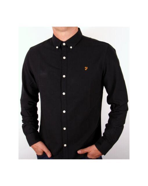 fa4c46bb948 Farah - Brewer Long Sleeve Shirt in Black - cotton smart casual classic  slim fit