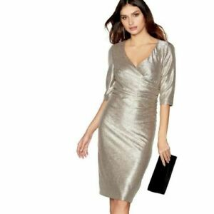 Debenhams-Debut-Gold-Wrap-Occasion-Party-Cocktail-Midi-Long-Dress-SIZE-6-To-20