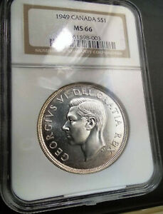 1949-SILVER-DOLLAR-GEORGE-VI-S1-CANADA-KM-47-LOW-POP-PCGS-MS-66-HIGHEST-GRADES