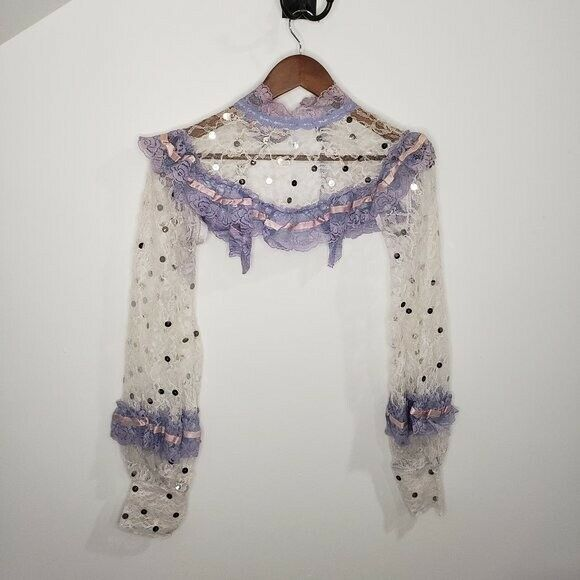 Handmade Lace Cover Fairycore White and Lilac Siz… - image 10