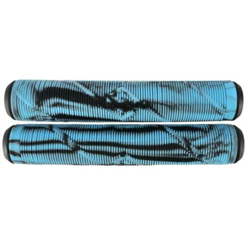 Black Light Blue Striker Logo Scooter Grips