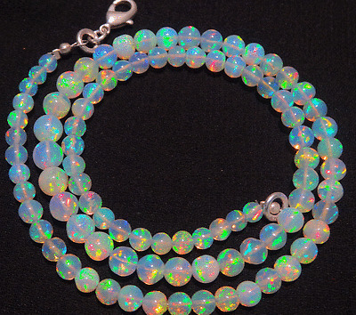 Natural ULTIMATE QUALITY ETHIOPIAN OPAL ROUND BALL BEADS NECKLACE 4 TO 6 MM 16""