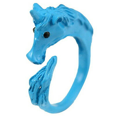Girl Alluring Candy Color Unicorn Finger Ring Enamel Horse Party Jewelry Ring SP