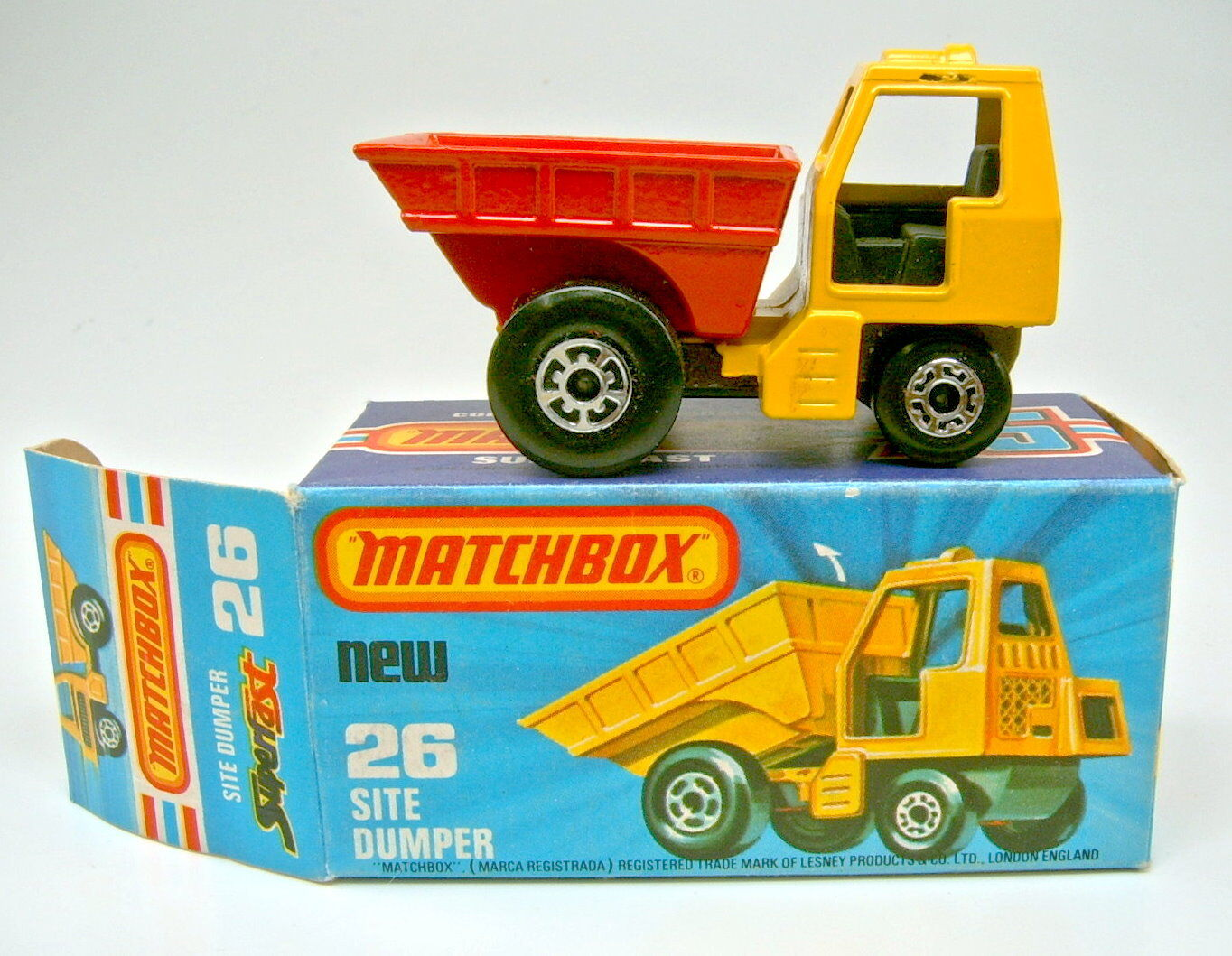 Matchbox SF Nr. 26C Site Dumper yellow yellow yellow & red met. brownes Chassis top in Box f19cf6