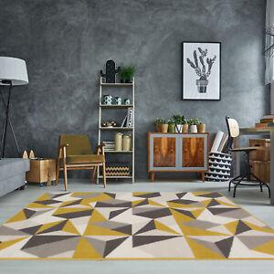 Détails sur Tapis de salon géométrique kaléidoscope jaune moutarde ocre  gris beige Moderne