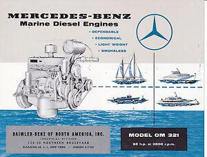 Vintage ad sheet 3169 1960s mercedez benz model om 321 for Mercedes benz marine engines
