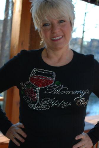 Mommy/'s Sippy Cup  Rhinestone Bling Shirt XS S M L XL XXL 3X 4X 5X