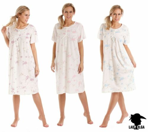 Large Sized Short Sleeve Floral  Cotton//Jersey Nightdress sizes 26-34