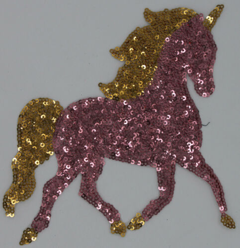 Sequin Patch Pink and Gold Unicorn