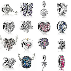 European-925-Silver-CZ-Charm-Beads-Pendant-Fit-sterling-Bracelet-Necklace-Chain