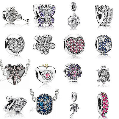 European 925 Silver CZ Charm Beads Pendant Fit sterling Bracelet Necklace Chain